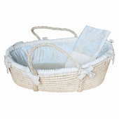 Toile Blue Moses Basket & Blanket