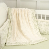 Toile Green Crib Blanket
