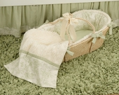 Toile Green Moses Basket & Blanket