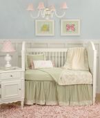 Toile Green Toddler Coverlet & Pillow