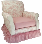 Toile Pink Adult Club Glider Rocker Chair - Foam or Down