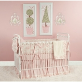 Toile Pink Crib Bedding Set
