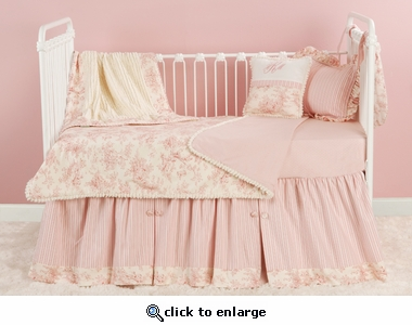 Toile Pink Toddler Coverlet & Pillow