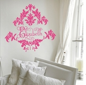 Tres Chic Damask Custom Personalized Wall Decal