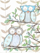 Two Blue Owls Framed Art Print