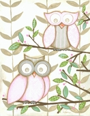 Two Pink Owls Framed Art Print