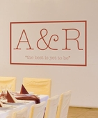 Typewritten Vow Monogram Custom Personalized Wall Decal