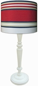 Varsity Stripe Shade with White Spindle Lamp