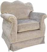 Versailles Velvet Silver Adult Empire Glider Rocker Chair - Foam or Down