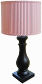Vintage Pink Stripe Shade with Black Column Lamp