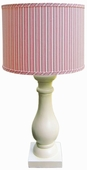 Vintage Pink Stripe Shade with Eggshell Column Lamp