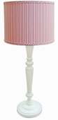 Vintage Pink Stripe Shade with White Spindle Lamp
