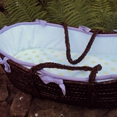 White Collection Moses Basket in Lavender