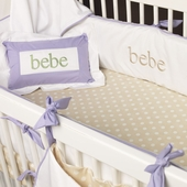 White Crib Bedding in Lavender