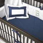 White Crib Bedding in Navy