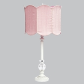 White Large Glass Ball Lamp with Double Scalloped Pink Drum Shade