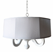 White Linen Drum Chandelier