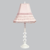 White Medium 3 Glass Ball Lamp with Pink Skirted Shade