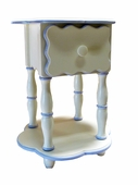 White & Medium Blue Camel Round End Table