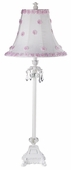 White/Pink Petal Flower Shade on Large Crystal Dangle Glass Ball White Lamp
