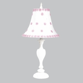 White/Pink Petal Flower Shade on Large Curvy Candle White Lamp