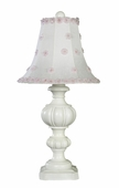 White/Pink Petal Flower Shade on Large Urn White Lamp