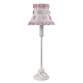 White/Pink Petal Flower Shade on Small Leaf Scroll White Lamp