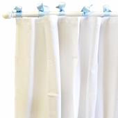 White Pique Blue Curtain Panel Set