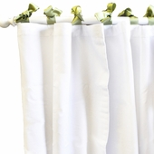 White Pique Green Curtain Panel Set