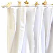 White Pique Khaki Curtain Panel Set