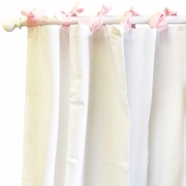 White Pique Pink Curtain Panel Set
