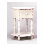 White & Powder Pink Camel Round End Table