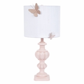White Round Drum Shade with Butterfly Magnets on Large Urn Pink Lamp