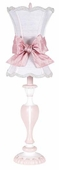 White Scallop Hourglass Shade on Large Curvy Candle Pink & White Lamp