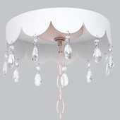 White Scalloped Ceiling Medallion with Crystals