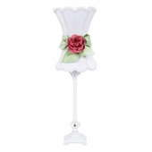 White with Modern Green Bow Scallop Hourglass Shade and Bright Pink Rose Magnet on Medium Scroll Glass Ball White Lamp