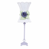 White with Modern Green Bow Scallop Hourglass Shade and Lavender Rose Magnet on Lavender Medium Scroll Glass Ball Lamp