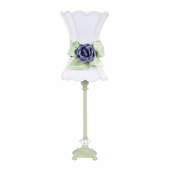 White with Modern Green Bow Scallop Hourglass Shade and Lavender Rose Magnet on Pistachio Medium Scroll Glass Ball Lamp