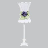 White with Modern Green Bow Scallop Hourglass Shade and Lavender Rose Magnet on White Medium Scroll Glass Ball Lamp
