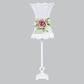 White with Modern Green Bow Scallop Hourglass Shade and Light Pink Rose Magnet on Medium Scroll Glass Ball White Lamp
