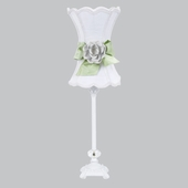 White with Modern Green Bow Scallop Hourglass Shade and White Rose Magnet on Medium Scroll Glass Ball White Lamp