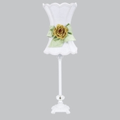 White with Modern Green Bow Scallop Hourglass Shade and Yellow Rose Magnet on Medium Scroll Glass Ball White Lamp