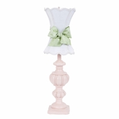 White with Modern Green Bow Scallop Hourglass Shade on Large Urn Pink Lamp