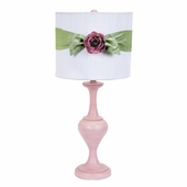 White with Modern Green Sash Round Drum Shade and Bright Pink Rose Magnet on Large Curvature Pink Lamp