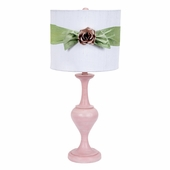 White with Modern Green Sash Round Drum Shade and Light Pink Rose Magnet on Large Curvature Pink Lamp