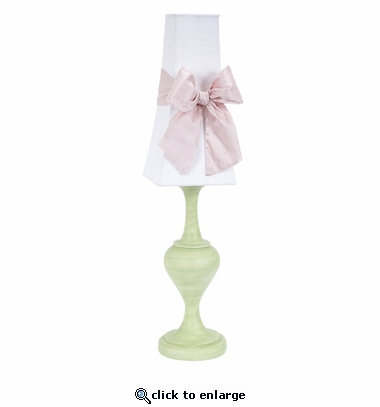 White with Pink Bow Tower Shade on Large Curvature Modern Green Lamp
