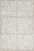 Winter White Zebra Print Decadent Hand-Knotted Rug