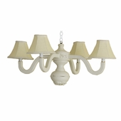 Yellow Linen Four Arm Bella Spindle Chandelier