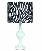 Zebra Drum Shade on Large Curvature Blue Lamp