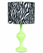 Zebra Drum Shade on Large Curvature Modern Green Lamp